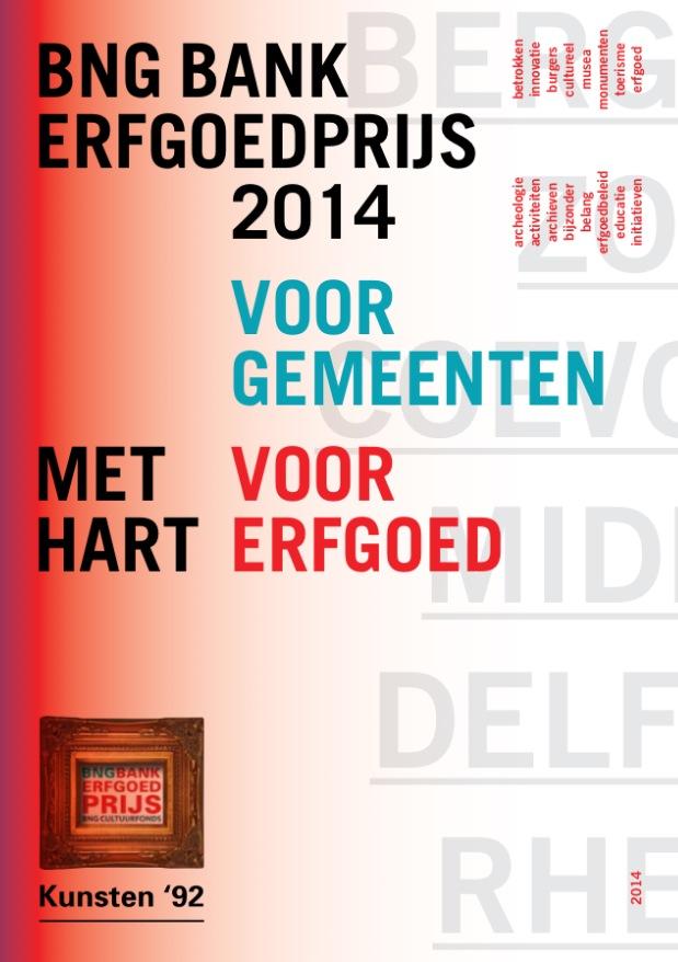 cover boekje BNG Bank Erfgoedprijs 2014 gemeenten genomineerden winnaar